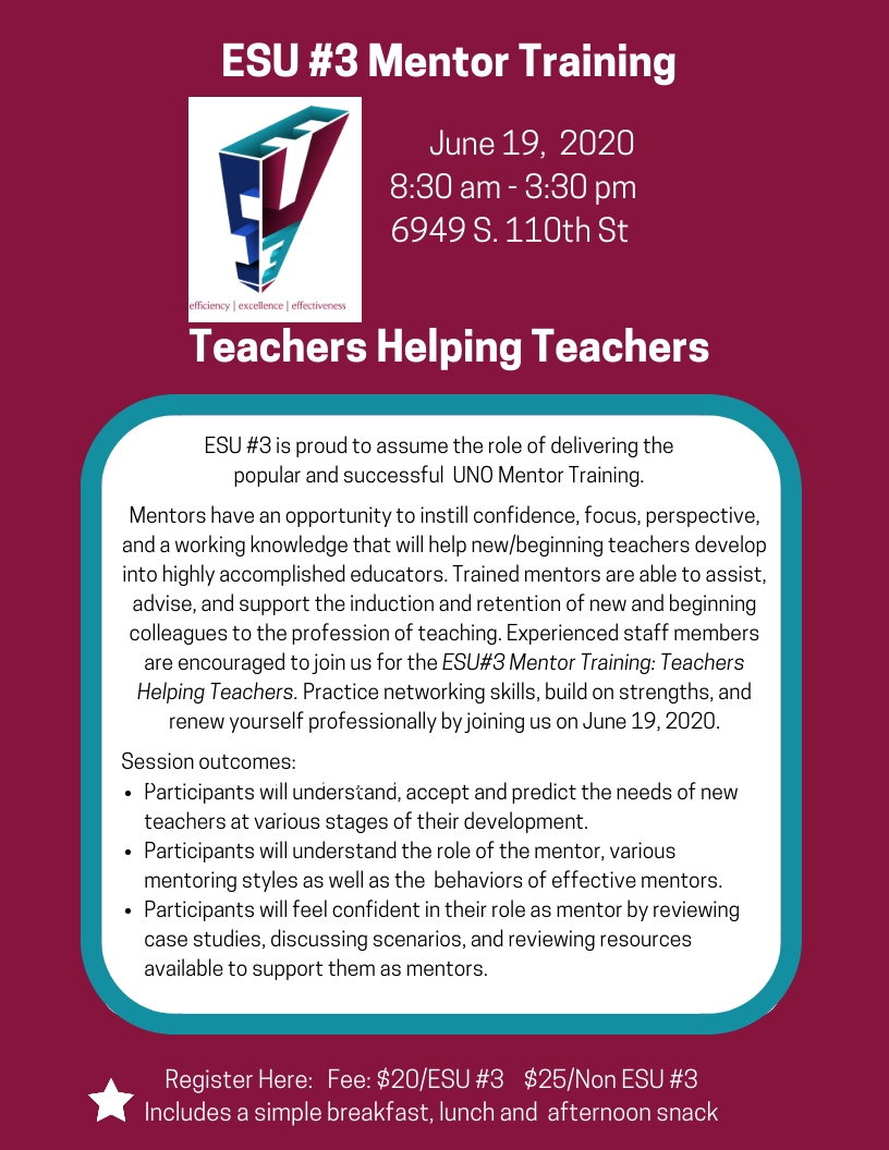 Click here to register for ESU 3 Mentor Training